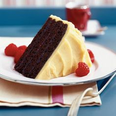 """""""Chocolate Raspberry Cake <3 Punch up a basic chocolate cake with a raspberry jam filling and a buttercream icing flavored with raspberry-flavored liqueur, such as Chambord. The icing will keep its cream-colored hue, so the berry bite will be a pleasant surprise."""" #spring #recipe #springrecipes #raspberry #icecream"""