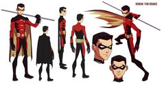 Nightwing and Robin from Batman Once again I took costume designs from Young Justice. Actually I like Nightwing outfit from other adaptations better b.Nightwing and Robin. Young Justice Robin, Nightwing, Tim Drake Red Robin, Robin Dc, Character Model Sheet, Character Modeling, Comic Books Art, Comic Art, Flashpoint