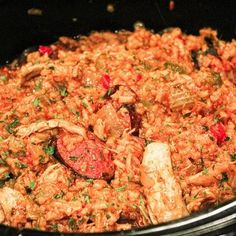 Homemade chicken & sausage jambalaya made in the slow cooker. Are you getting tired of the slow cooker recipes yet? Macaroni N Cheese Recipe, Cheese Recipes, Baked Macaroni, Macaroni Salad, Slow Cooker Recipes, Crockpot Recipes, Turkey Crockpot, Chicken Recipes, Cooking Recipes