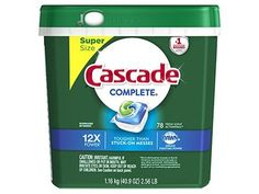 Cascade Complete ActionPacs Dishwasher Detergent, Fresh Scent, 78  Powers away stuck-on messes - no pre-wash needed  ActionPacs with the grease-fighting power of Dawn  Rinse aid action rinses away residues and leaves dishes with a brilliant shine finish  #1 Recommended Brand in North AmericaMore dishwasher brands in North America recommend Cascade vs. any other automatic dishwashing detergent brand, recommendations as part of co-marketing agreement Co Marketing, Dishwasher Detergent, Fresh, Bottle, North America, Dawn, Household, Action, Leaves