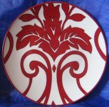 Lush Red Velvet Black White Wallpaper Scroll Toile Plate C