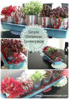 A Simple Christmas Centerpiece using paint cans and a wallpaper water tray from Lowes @ www.SomewhatSimple.com #lowescreator