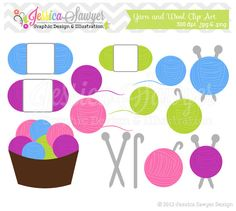 INSTANT DOWNLOAD,  yarn clipart - knitting clip art - crochet graphic - image - commercial use - logo - sticker