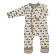 dd89597446 Pigeon Organics snuggly hedgehog print romper with side fastening and  contrasting striped cuffs at feet