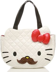 79e6b12926c Hello Kitty Mustache Quilted Face Bag Must have this bag! A little of  Raegan mixed with a hint of papa.