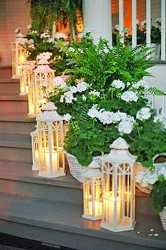 .porch decorating. lanterns and ferns. Southern charm.