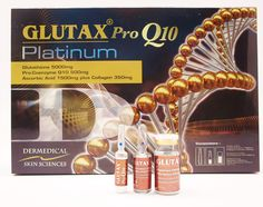 The ingredients present in Glutax Pro Q10 Platinum Skin Whitening are self-explanatory,  1. Glutathione: 5gm 2. Pro-Enzyme Q10: 500mg 3. Ascorbic Acid: 1.5gm 4. Alpha Lipoic Acid: 200mg 5. Collagen: 350mg