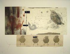 Artist unknown to me, Bird Watching, original etching Linocut Prints, Art Prints, Collage Book, Etching Prints, Photocollage, Animal Sketches, Art Journal Inspiration, Bird Art, Altered Art