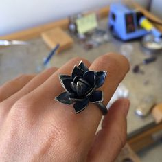 Black Flower Ring / Oxidized Silver Ring by SusanaTeixeiraJewels