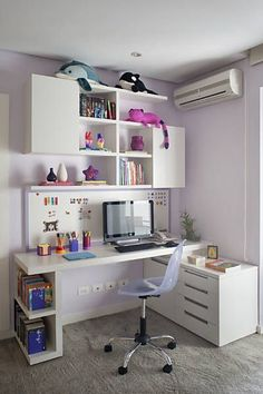 Rediseña tu oficina en casa con estas ideas #35 Office Desk, Home Office, My Room, Corner Desk, Writing Table, Study, Girl Rooms, Quartos, Dorm Rooms