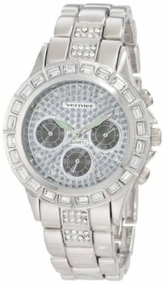 Vernier Women's VNR11084SS Faux Chronograph Bracelet Quartz Watch Vernier. $28.99. This watch features a baguet stone bezel all over for a luxurious look; Silver-tone wristwatch bracelet is an excellent addition to any woman's designer accessory collection. Altogether classy, women's large timepiece is a must-have for any collection. Water-resistant to 33 feet (10 M). Timepiece features faux crono- look. Icon fashion women's wristwatch by Vernier is all about stand-out style