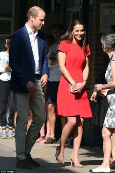 "Daily Mail U.K. on Twitter: ""Kate stuns in scarlet dress as she joins William for day of engagements in London"