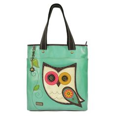 Everyday Zip Tote with Detachable Keychain - Teal Owl