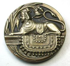"""Antique Brass Button Sphinx on Fancy Rug Super Detailed Large Size 1 & 3/8"""" NICE"""