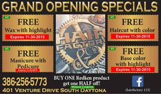 Hair Factory & Co. GRAND OPENING SPECIALS! Free Wax With Highlight OR Free Manicure With Pedicure OR Free Haircut With Color OR Free Base Color With Highlight. Limit one offer per client visit. Not valid in conjunction with any other offer, coupon or deal. Expires 11/30/2015.