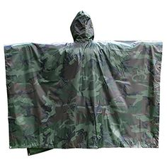 Multifunctional Military Camouflage Waterproof Rain Poncho Packable Raincoat Camping Tent Rain Cover Outdoor with Carry Bag ** Continue to the product at the image link.