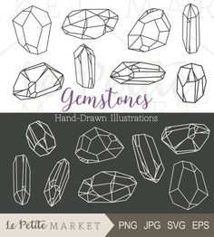Hand Drawn Gem Clipart, Crystal Clipart, Bling Clip Art, Hand Drawn Crystals and Minerals, Geometric Gems, Jewelry Gem Illustration Clip Art