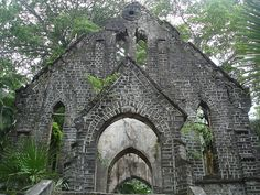 ARCHITECTURE – Abandoned Presbyterian Church on Ross Island, Port Blair, South Andaman Island, India.