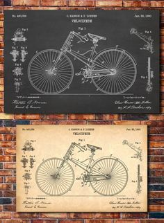 Our prints showcase the great innovations of humanity, documented for posterity in patent form.  We also have other bicycle related patents: https://www.etsy.com/shop/CatkumaPatentPress/search?search_query=bicycle  All of our patent posters are printed on heavyweight matte paper using archival pigment and reactive dye inks for high color quality and durability. We have several sizes and a variety of background options to choose from. Thank you for shopping at Cat...