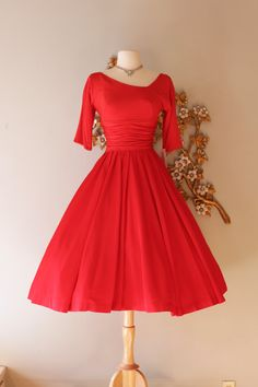 Vintage 1950s Cherry Red Cocktail Party Dress ~ Vintage 50s Jane Andre Red Party Dress with Full Skirt by xtabayvintage on Etsy
