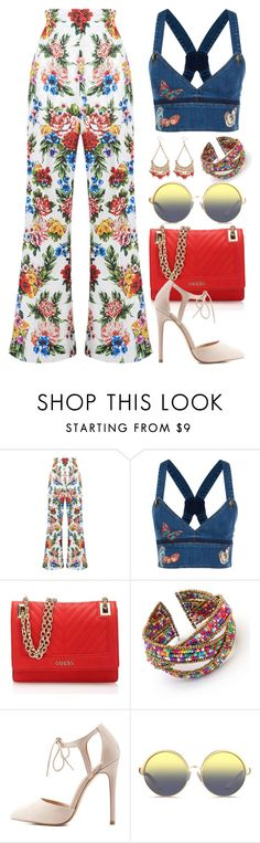 """""""Denim and Floral (Outfit Only) 1570"""" by boxthoughts ❤ liked on Polyvore featuring Emilia Wickstead, Valentino, GUESS, Charlotte Russe, Matthew Williamson and Chicnova Fashion"""