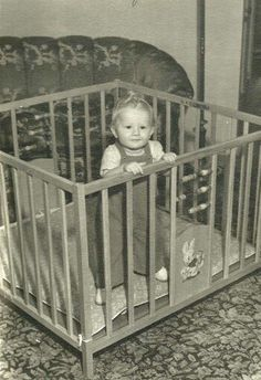 Old wooden playpen.they may be considered unsafe today but they were so much better looking.not so 'industrial' as todays folding metal and plastic ones. Have pictures of me in mine.