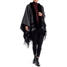Mitchies Lines Design & Genuine Fox Fur Trim Woven Wrap ($161) ❤ liked on Polyvore featuring accessories, scarves, charcoal, braided scarves, wrap shawl, woven shawl, wrap scarves and woven scarves