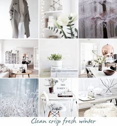 """STYLE, SPACE & STUFF """"clean, crisp, fresh winter"""" for The Hege in France and Cafe Veyafe  #moodboardchallenge"""