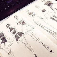 Fashion design sketches by designer @j_miles2009 @fashionary.