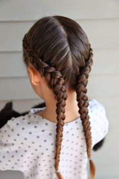 """""""This is simple Dutch Braids, but it looks a little different because I kept the braids low, toward the outside of the hairline. Learn to Dutch Braid in the link below: """""""