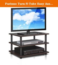 Furinno Turn-N-Tube Easy Assembly 4-Tier Corner TV Stand (Espresso). Open display shelves provide easy storage and display of TV and other entertainment accessories. Suitable for any room. Designed to meet the demand of low cost, but durable and efficient furniture. It is proven to be the most popular RTA furniture due to its functionality, price and the no hassle assembly. A smart design that uses durable recycled PVC tubes and engineered medium-density composite wood that withstand…