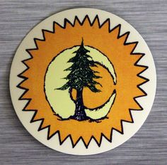 Sun Moon PIne Tree Sticker Outdoor Bumper Stickers by RootConcepts