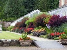 beautiful flower bed on a slope