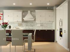 современная угловая кухня в белом цвете