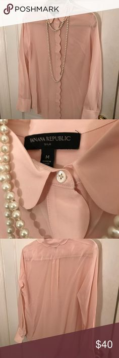 Banana Republic silk button down Banana Republic silk button down. Scallops detail...worn once!! Make me an offer ☺️! Banana Republic Tops Button Down Shirts