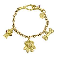 Paul Morelli 18k Gold Dog Lover Charm Bracelet