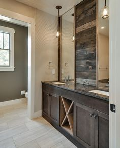 Rustic Master Bathroom with Simple granite counters, Master bathroom, Pendant light, Undermount sink, Double sink, Flush