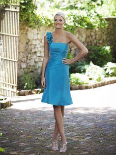 Fancy one shoulder sleeveless taffeta bridesmaid dress