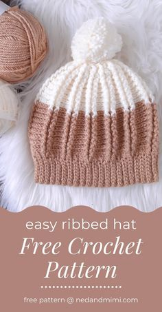 Ribbed Crochet, Crochet Beanie Pattern, Easy Crochet Hat, Crochet Cap, Crochet Scarves, Free Crochet, Crochet Clothes, Diy Crochet Gifts, Crochet Hat Tutorial