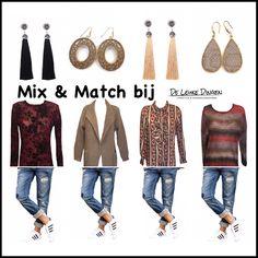Mix & Match bij www.deleukedingen.nl     #friday #mixandmatch #goodlook #jeans #blouse #sweater #cardigan #retro #earrings #musthaves @deleukedingen