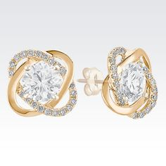Twist diamond earrings jackets in yellow gold. | This was pinned with inspiration from the #ShaneCo #LightASpark #Sweepstakes