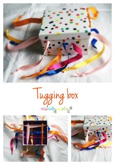 Tugging box Your child will enjoy the tugging, pulling or drawing the string bac. - Tugging box Your child will enjoy the tugging, pulling or drawing the string back and forth. Toddler Learning Activities, Montessori Activities, Infant Activities, 9 Month Old Baby Activities, Learning Games, Kids Learning, Baby Sensory Play, Baby Play, Diy Sensory Toys For Babies