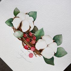 Watercolor Rose, Watercolor Sketch, Watercolor Illustration, Watercolor Paintings, Cartoon Flowers, Watercolor Christmas Cards, Floral Drawing, Plant Illustration, Fruit Art