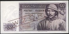 Poland currency 500 Polish złoty banknote of 1939 - Polish government-in-exile during World War II.