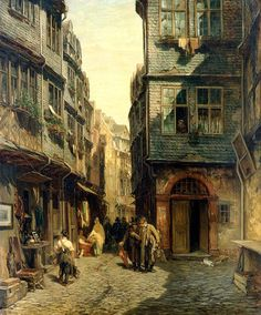 File:Frankfurt Am Main-Anton Burger-Judengasse in Frankfurt am - Wikimedia Commons Classic Paintings, Great Paintings, Old Paintings, Fantasy Landscape, Fantasy Art, City Painting, Fantasy Places, Fantasy Setting, Frankfurt