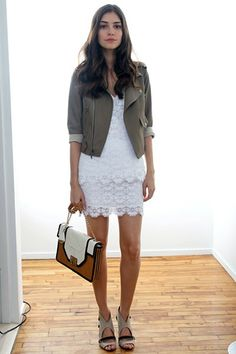 summer whites to fall: white lace dress, army jacket, tan sandals