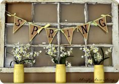Pretty Spring Mantel...love the yellow, via Thrifty Decorating