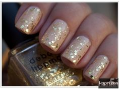 Tan and gold manicure