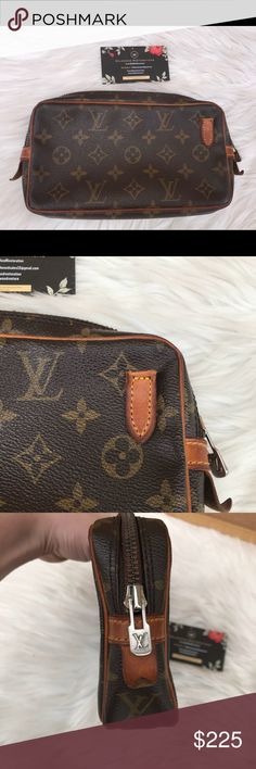 Louis Vuitton Marly Authentic  Marly b but long straps been removed  Inside is clean  Vachetta is nice and even  Canvas is great  Zipper runs smooth Excellent bag for make up or traveling Awesome accessory for a day out! Louis Vuitton Bags Clutches & Wristlets
