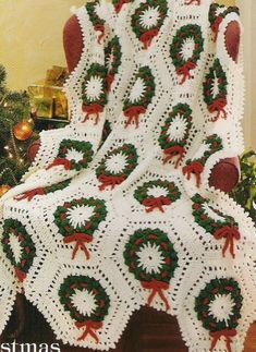 Christmas Holly Wreaths Afghan Throw Crochet Pattern. A lovely pattern to create a traditional Christmas Afghan to treasure! You will receive your pattern unfolded in a clear protective plastic wallet and Board Backed A4 Envelope. | eBay!